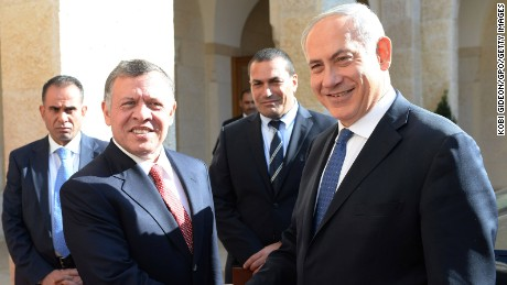 AMMAN, JORDAN - JANUARY 16:  In this handout image supplied by the Israeli Government Press Office (GPO), Prime Minister Benjamin Netanyahu meets Jordan's King Abdullah II , during a visit to Amman on Jan 16, 2014 in Amman, Jordan. (Photo by Kobi Gideon/GPO/Getty Images)