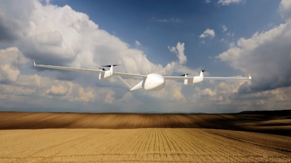The Transition UAV by researchers at Germany's Quantum Systems, is designed as an agricultural solution. The drone evaluates crop conditions, monitoring their health and devising a fertilization strategy. It then feeds back this information to farmers, who will know exactly the right information about of water and nutrition their crop requires for optimal growth.  Its name derives from the drone's propellers. The drone lifts off like a helicopter, but once in the air the front propellers pivot forward 90 degrees, the drone then flying like a conventional airplane. This improves efficiency and increases its range greatly, the engineers claiming it can travel up to 500km.