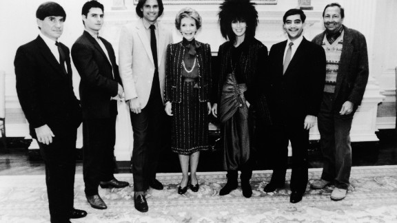 Jenner, who was diagnosed with dyslexia while growing up, joins first lady Nancy Reagan, other celebrities and recipients of the Outstanding Learning Disabled Achiever Award at the White House in 1985. From left to right are G. Chris Anderson, Tom Cruise, Jenner, Reagan, Cher, Richard C. Strauss and Robert Rauschenberg.