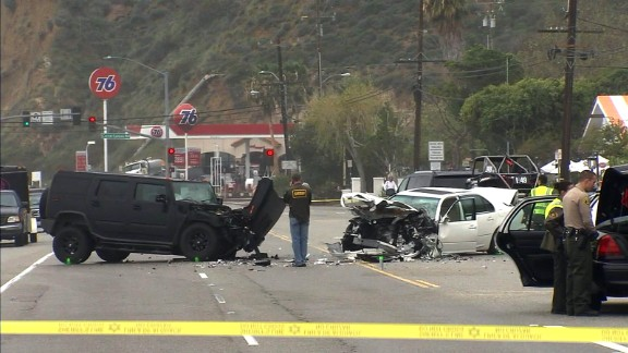 A screen grab from CNN affiliate KABC video showing the scene of the crash on Saturday, February 7.