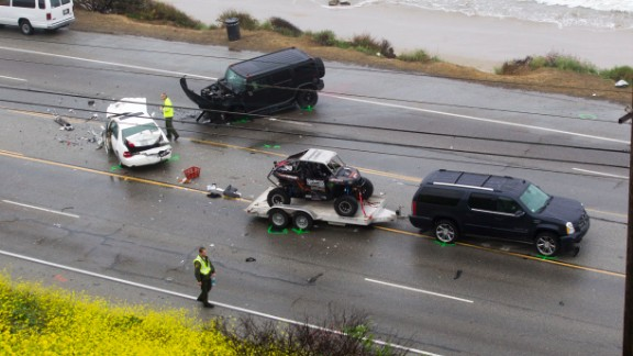 The wreck occurred just yards from the Pacific Ocean.