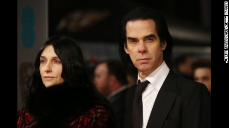 Nick Cave and his wife Susie Bick at the 2015 BAFTA Awards in London.