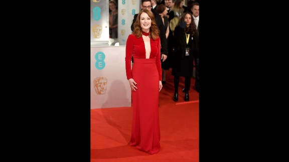 Julianne Moore arrives on the red carpet for the British Academy Film Awards at London's Royal Opera House in London on February 8. Click through for more arrivals: