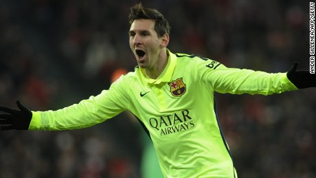 Lionel Messi celebrates his opening goal in Barcelona's win at Athletic Bilbao.