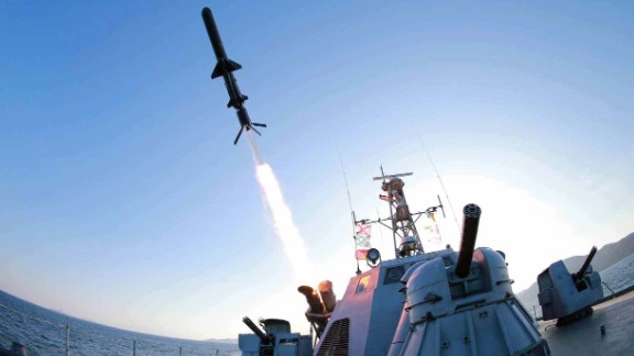 "North Korea test-fired a new ""ultra-precision"" intelligent rocket to be deployed across its navy, the state-run Korean Central News Agency said on February 7, 2015."
