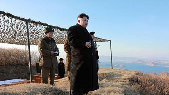 "North Korean leader Kim Jong Un inspects the test-firing of a new type of ""anti-ship rocket."""
