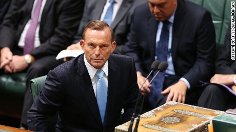 CANBERRA, AUSTRALIA - FEBRUARY 09: Prime Minister Tony Abbott after moving a motion on the Martin Place siege in the House of Representatives at Parliament House on February 9, 2015 in Canberra, Australia. Tony Abbott remains Prime Minister of Australia after a spill motion failed at a Liberal party meeting this morning. The motion was defeated, 39 to 61 in favour of Abbott. (Photo by Stefan Postles/Getty Images)