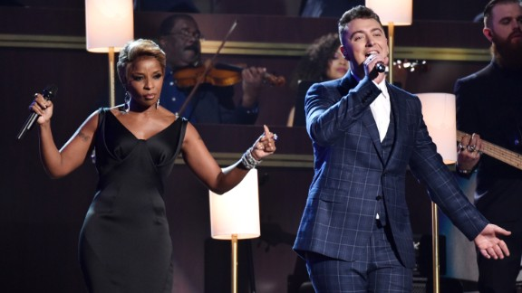 Mary J. Blige and Sam Smith perform Smith