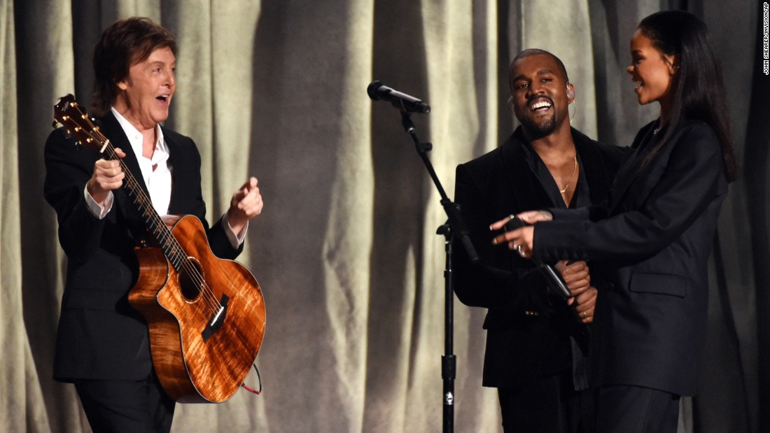 "Paul McCartney, Kanye West and Rihanna team up on Rihanna's new song ""FourFiveSeconds."""