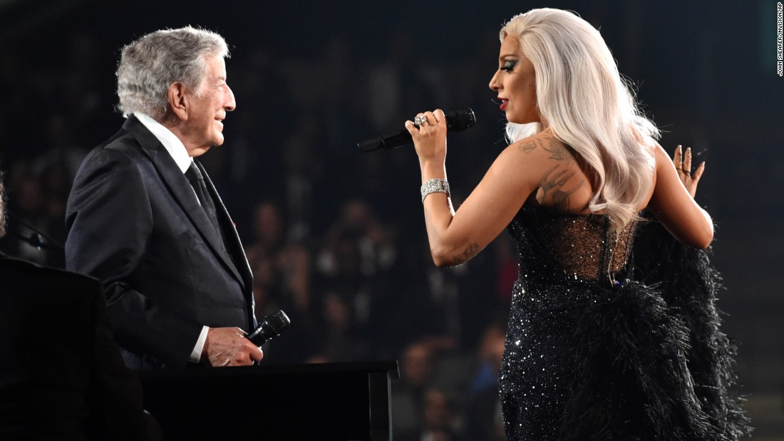 "Tony Bennett and Lady Gaga sing Irving Berlin's ""Cheek to Cheek,"" which is also the name of their collaborative album from last year."