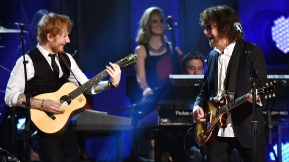 """Ed Sheeran plays guitar with Jeff Lynne and the Electric Light Orchestra for """"Mr. Blue Sky."""""""