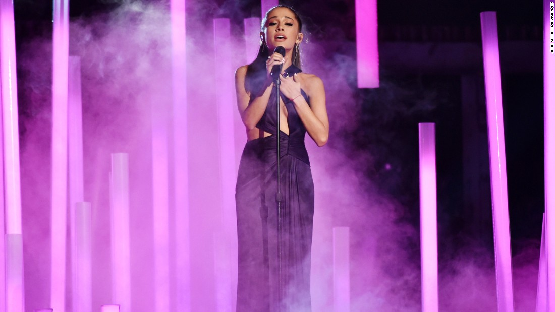 "Ariana Grande sings ""Just a Little Bit of Your Heart."""