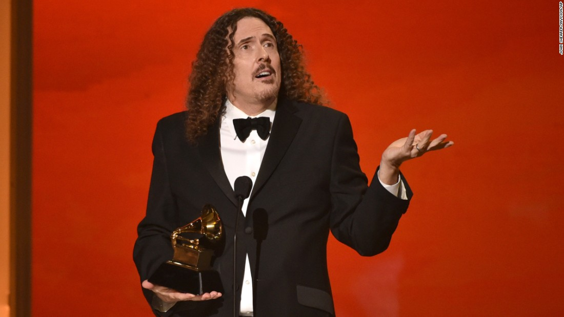 """Weird Al"" Yankovic accepts the award for Best Comedy Album (""Mandatory Fun"")."