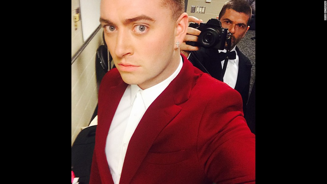 Candids, selfies and Instagrams were part of the Grammy scene Sunday. Sam Smith looks sharp in red.