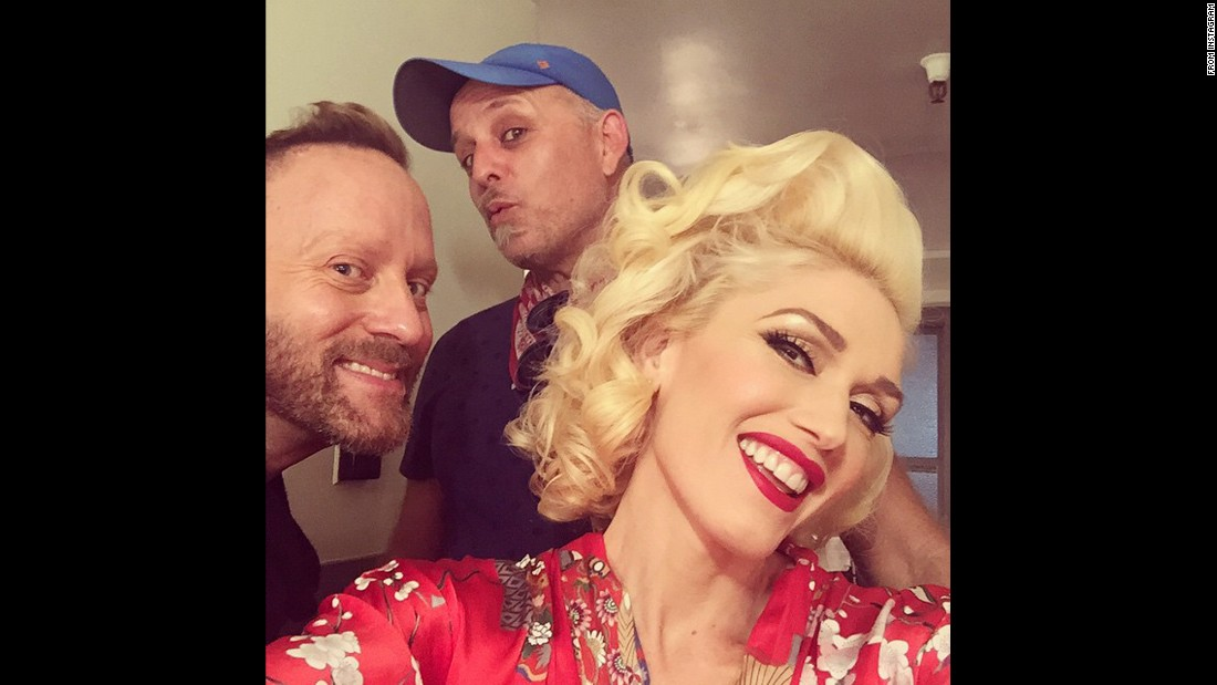 Gwen Stefani poses with her makeup crew.