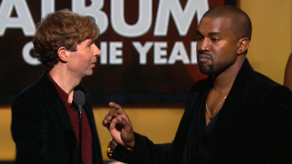 February 2015: In 2009, West interrupted Taylor Swift's speech at the MTV Video Music Awards to say that her video didn't deserve an award. When he approached the stage at the Grammys in February to interrupt Album of the Year winner Beck, it seemed like a joke -- but no, Kanye wasn't joking. He later apologized.