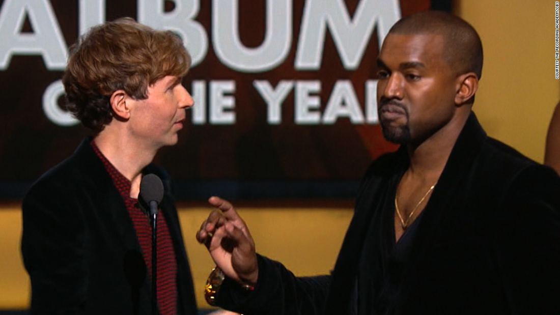 "<strong>February 2015:</strong> In 2009, West interrupted Taylor Swift's speech at the MTV Video Music Awards to say that her video didn't deserve an award. When he approached the stage at the Grammys in February to interrupt Album of the Year winner Beck, it seemed like a joke -- but no, Kanye wasn't joking. <a href=""http://www.cnn.com/2015/02/27/entertainment/kanye-west-apology/"">He later apologized</a>."