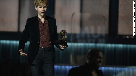 Beck watches Kanye West leave the stage at the Grammy Awards in Los Angeles on Sunday.