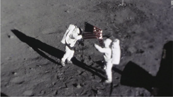 The tapes, which could fetch millions at auction, feature NASA footage of the moment Neil Armstrong and Buzz Aldrin planted the American flag on the moon.