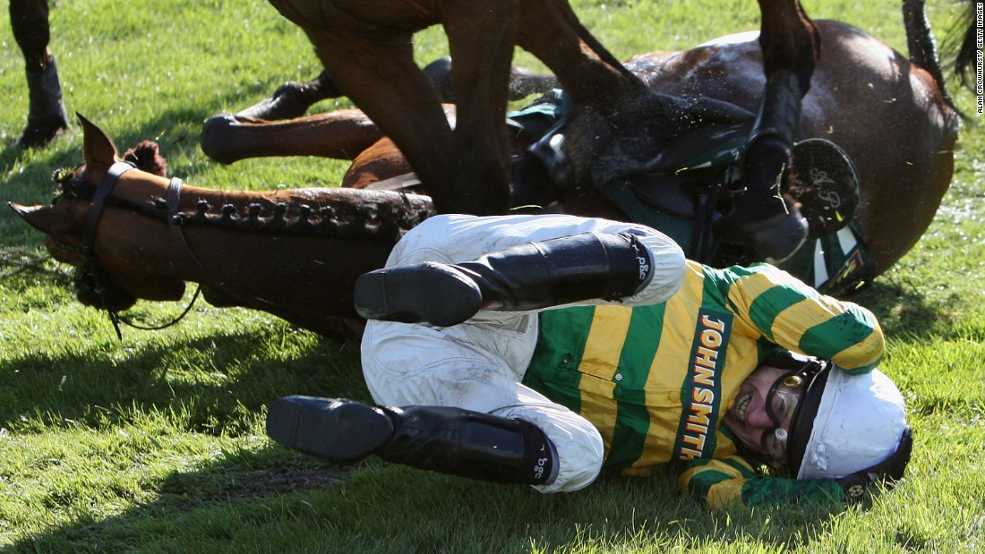 He estimates he has fallen over 1,000 times in all, including on this occasion at the prestigious annual Grand National.