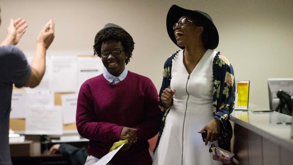 Shante Wolfe, left, and Tori Sisson become the first same-sex couple to file their marriage license in Montgomery, Alabama, on February 9, 2015. However, seven months after the U.S. Supreme Court ruling legalizing such nuptials nationwide, Alabama Chief Justice Roy Moore directed probate judges in his state to enforce the ban on same-sex marriage. Gay rights organizations swiftly denounced Moore's January 6, 2016, order.
