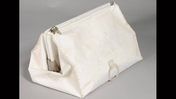 This white cloth bag, known as a McDivitt Purse, was stowed in the Lunar Module during the Apollo 11 mission. For unknown reasons, Armstrong brought the bag back to Earth, despite the fact it was supposed to remain on the moon's surface. Unbeknownst to all, it remained in Armstrong's closet until he died in 2012. It has now been donated to the Museum by Armstrong's family.