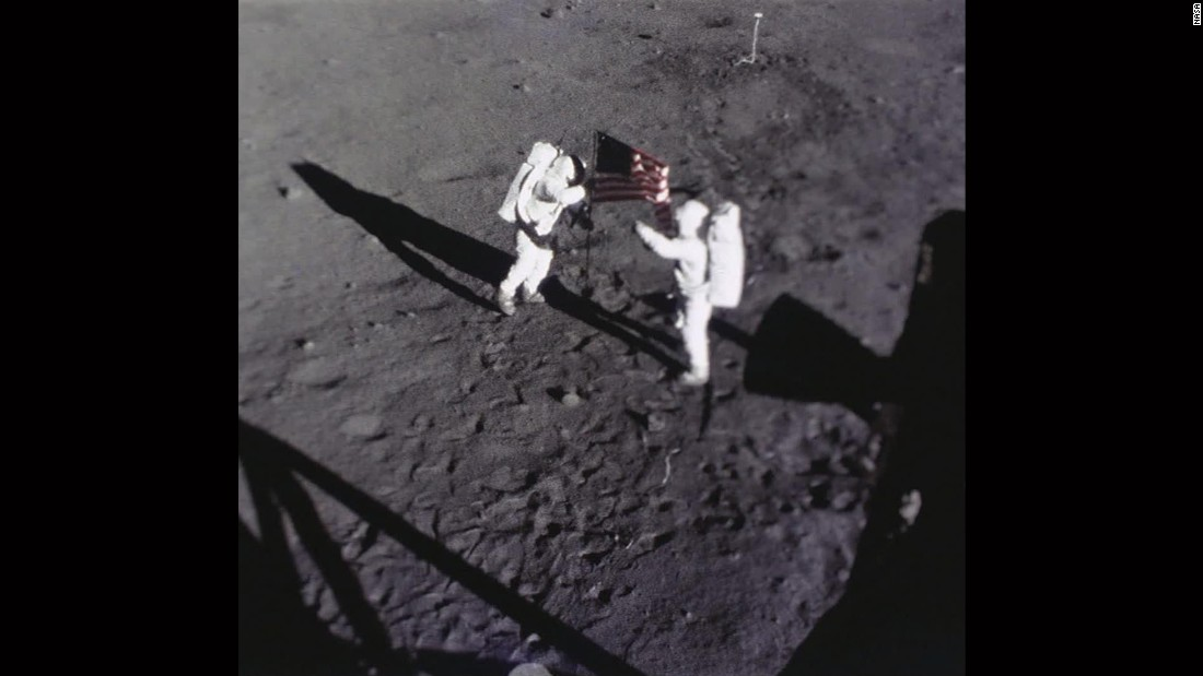 Astronauts Neil Armstrong and Buzz Aldrin would later relocate the camera so it can film them during moon walks -- this shot captured them placing the U.S. flag on the lunar surface.