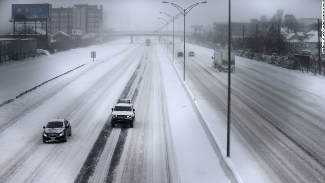 Traffic is thin on the Massachusetts Turnpike in Boston on February 9.