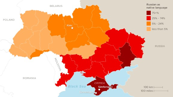 Ukrainian is spoken by 70% of the country, but Russian is the mother tongue of many in the east.