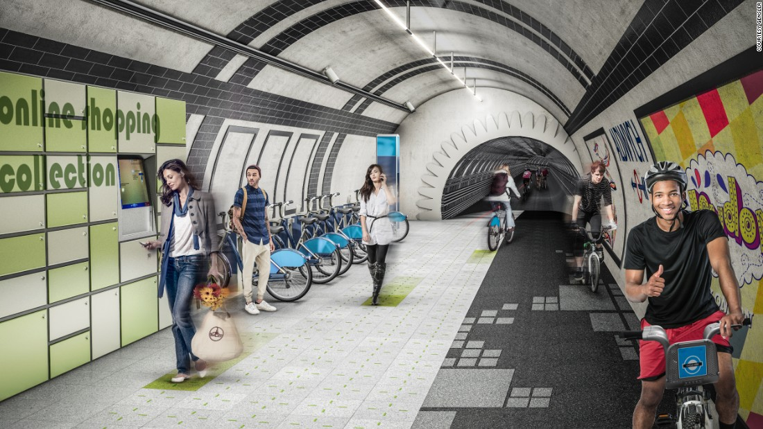 "The London Underline concept seeks to transform the city's disused metro tunnels into a network of underground pathways for pedestrians and cyclists. London has 250 miles (400km) of metro tunnels and 18 ""ghost"" tube stations which are not used."