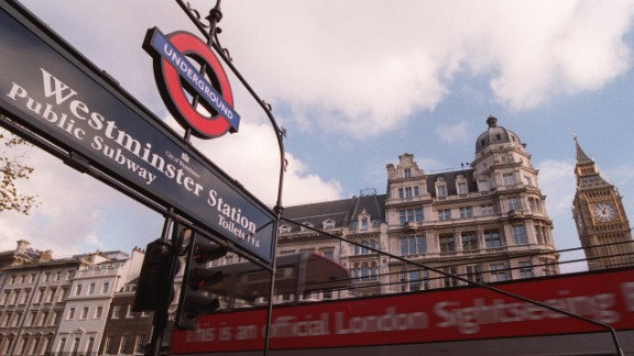 The entrance to Westminster underground station in London.