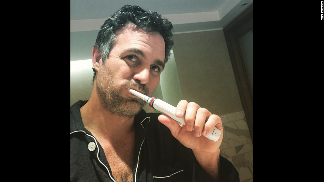 """Getting @BAFTA ready,"" actor Mark Ruffalo said in this selfie <a href=""http://instagram.com/p/y2CzvaLDer/?modal=true"" target=""_blank"">he posted to Instagram</a> on Sunday, February 8. ""Brushing teeth is an important part of one's proper #EEBAFTAs hygiene program. Ta Ta!"" BAFTA stands for the British Academy of Film and Television Arts, which held <a href=""http://www.cnn.com/2015/02/08/entertainment/gallery/bafta-red-carpet/index.html"" target=""_blank"">its annual award show</a> February 8 in London. Ruffalo was nominated for his supporting role in ""Foxcatcher."""