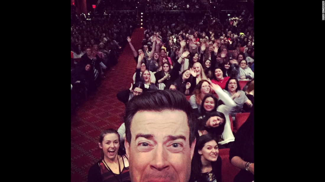 "Late-night television host Carson Daly takes a selfie before the start of a ""Fifty Shades of Grey"" screening on Friday, February 6. Daly <a href=""http://instagram.com/p/ywpQSvAvQf/?modal=true"" target=""_blank"">posted it to Instagram</a> with the caption: ""999 screaming ladies and me. Terrified."""