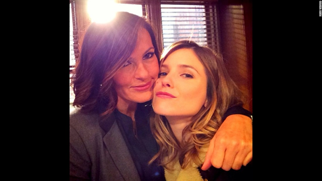 "Mariska Hargitay, left, <a href=""https://twitter.com/Mariska/status/563140762062159873"" target=""_blank"">tweeted this selfie</a> of her and fellow actress Sophia Bush on Wednesday, February 4. Bush was one of Hargitay's #8ReasonsToLoveWednesday."