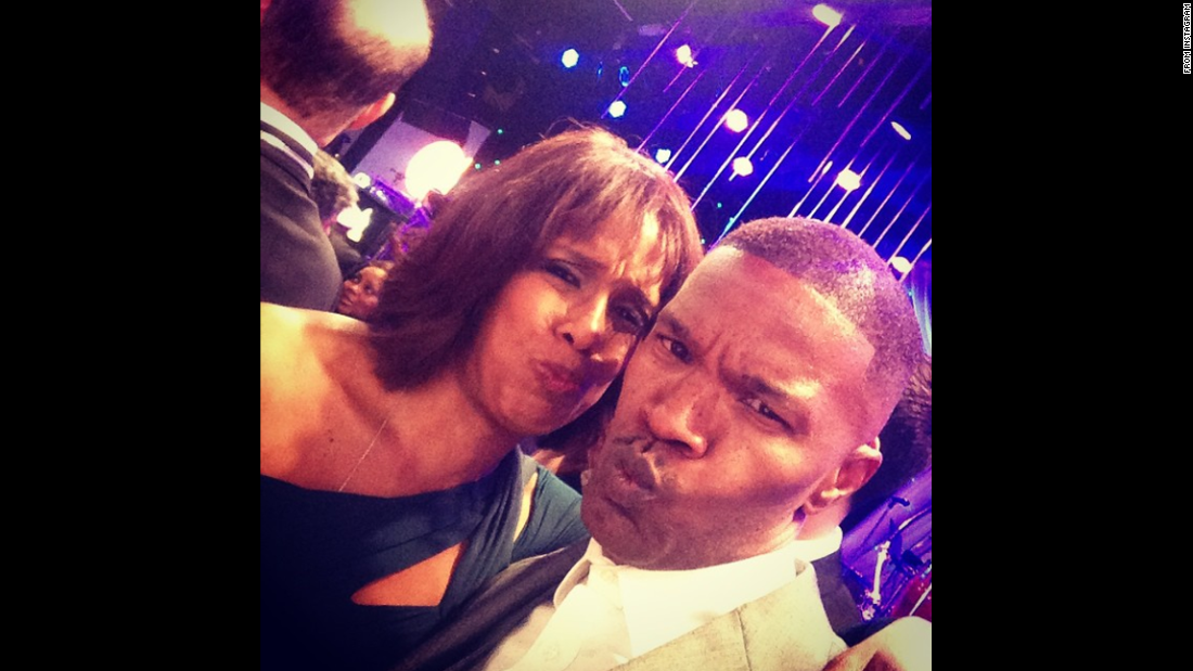 "Television host Gayle King takes a selfie with actor Jamie Foxx on Monday, February 9. ""More selfie tips from one of the most fun people @iamjamiefoxx,"" <a href=""http://instagram.com/p/y5pm8cMnxx/?modal=true"" target=""_blank"">King said on Instagram.</a> ""This is what he calls stern face... Probably won't do this one again ... But when Jamie speaks I listen."""