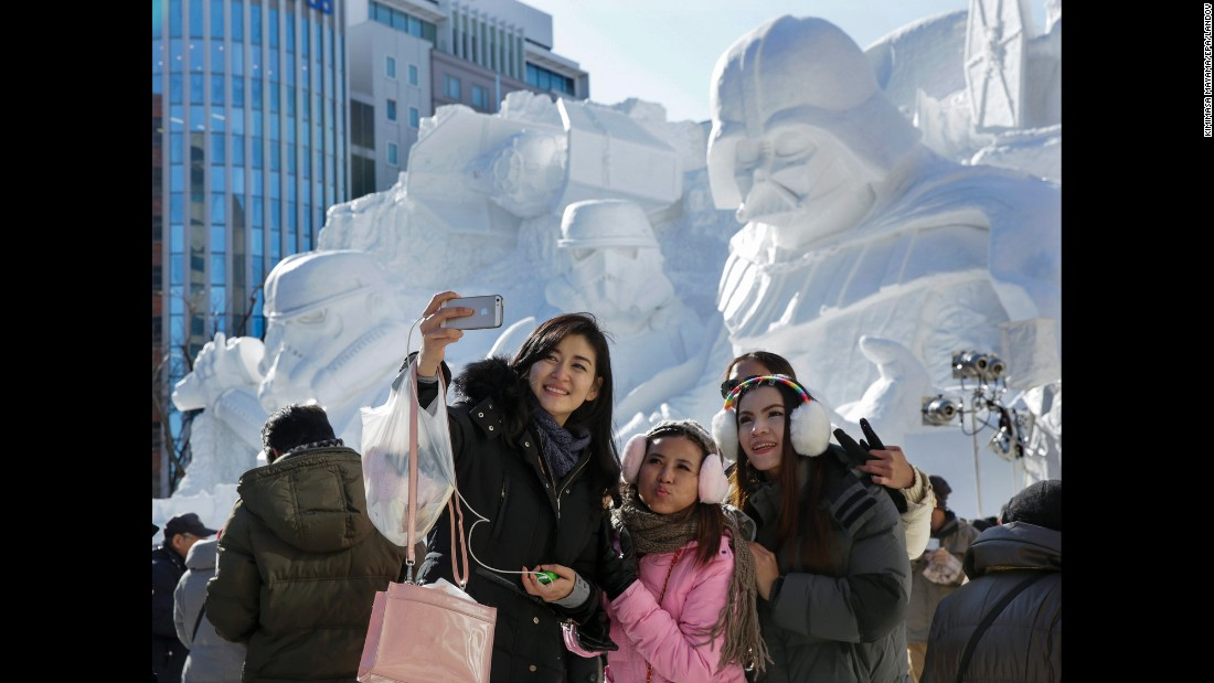 "A ""Star Wars"" snow sculpture is the backdrop for this selfie taken Thursday, February 5, at the Sapporo Snow Festival in Sapporo, Japan. <a href=""http://www.cnn.com/2015/02/04/living/gallery/look-at-me-selfies-0204/index.html"" target=""_blank"">See 26 selfies from last week</a>"
