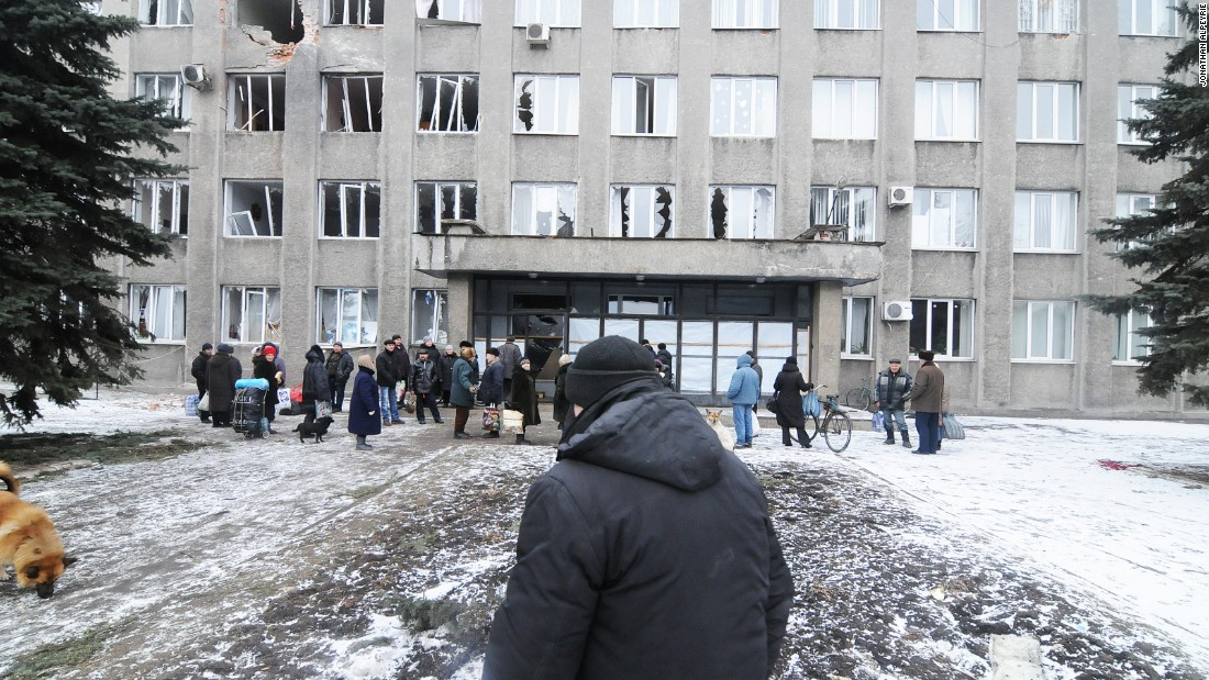 City Hall was targeted by separatist forces shelling the center of town February 9.