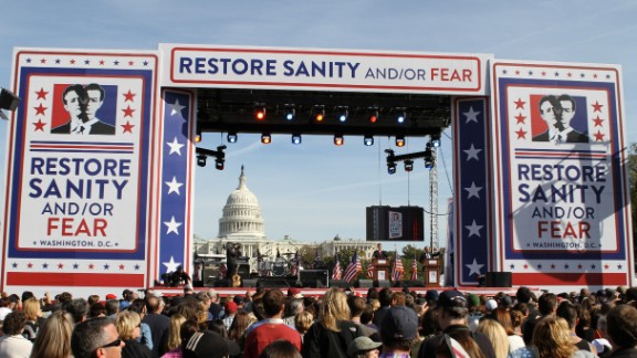 In 2010, Stewart and fellow Comedy Central host Stephen Colbert hosted the Rally to Restore Sanity and/or Fear on the National Mall in Washington. The event was attended by thousands and featured a mock debate and musical guests.