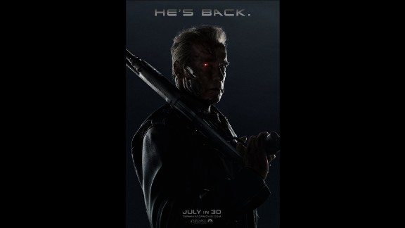 """""""He's back,"""" the posters proclaim, and it's obvious who """"he"""" is: Arnold Schwarzenegger in his most iconic role, that sneaky scamp, the T-800. This time he gets to be fatherly, protecting a young Sarah Connor, who still faces that time line in which she becomes the mother of Resistance leader John Connor. It opened July 1."""