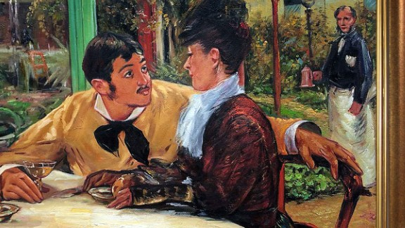 The restrained, quotidian scene depicts a modest expression of desire. The model for the young man was the son of the cafe's owner, and the young woman was modeled by two different people.
