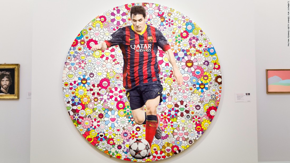 $488,000, how much you would have to pay to hang Lionel Messi in your living room. The Barca star was been painted by Japanese artist Takashi Murakami, with the piece sold as part of an auction aimed at raising money for child education charities.