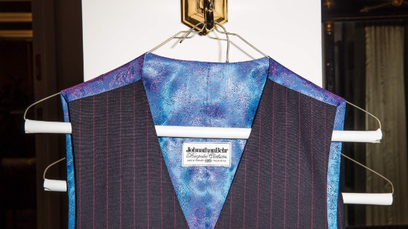 The vest from a three-piece suit bears the Johnathan Behr Bespoke Clothiers label.