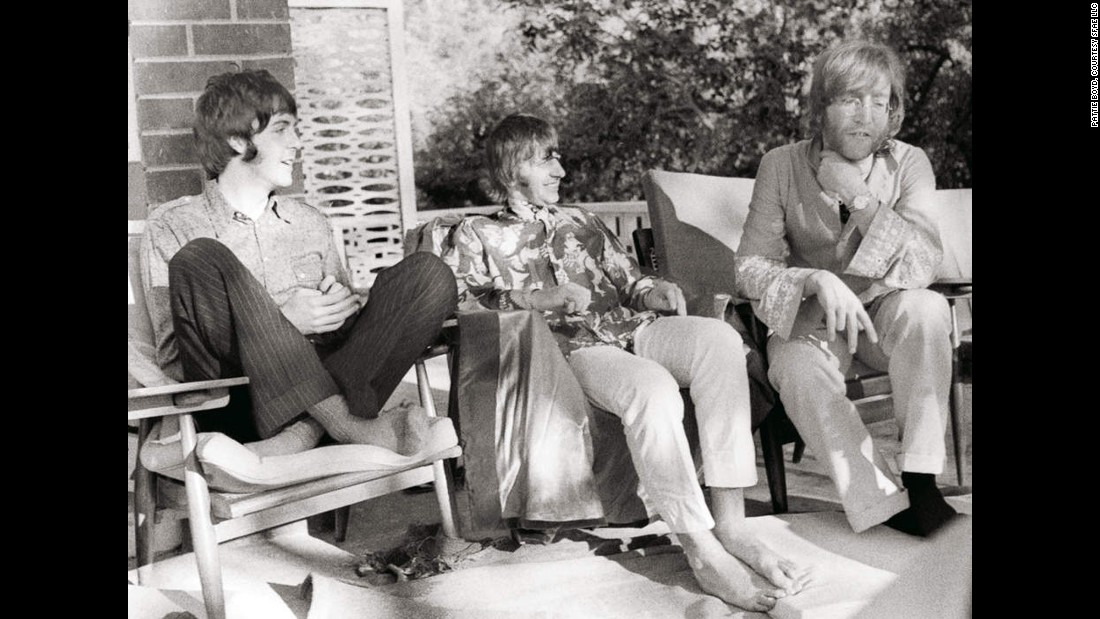 Paul McCartney, from left, Ringo Starr and John Lennon sit together during a trip to Rishikesh, India, at Maharishi's ashram, where the Beatles visited to study meditation.