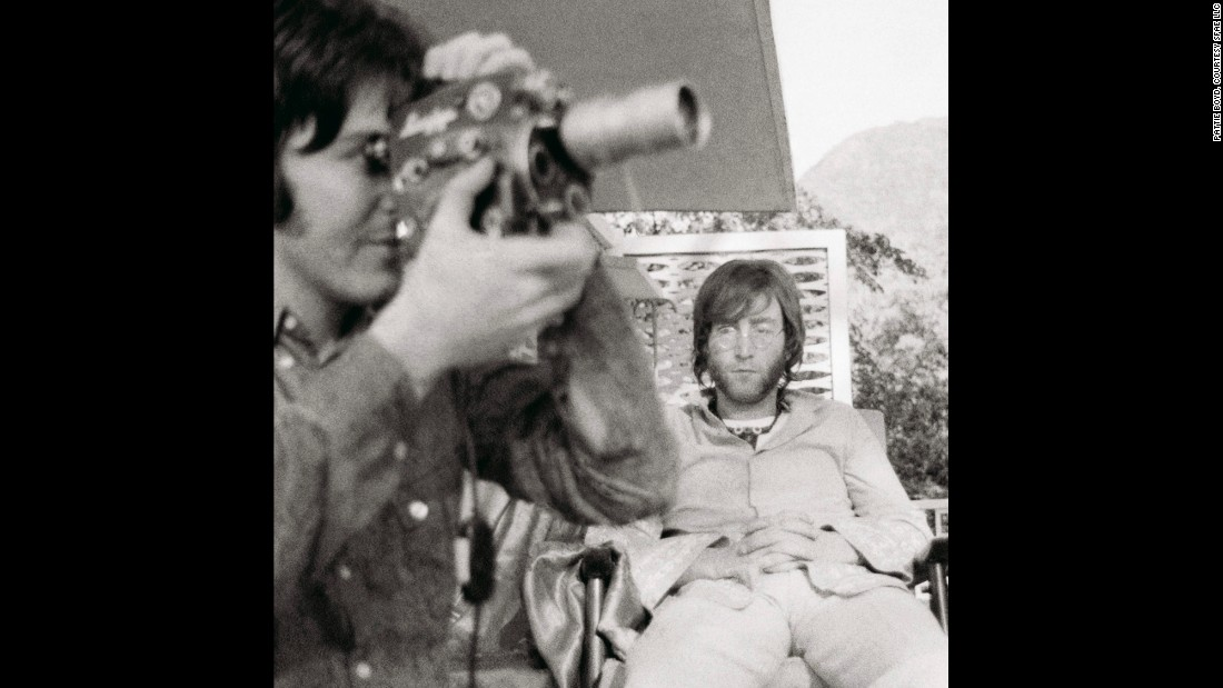 McCartney is captured here recording his experiences in Rishikesh on a Super 8 Camera.