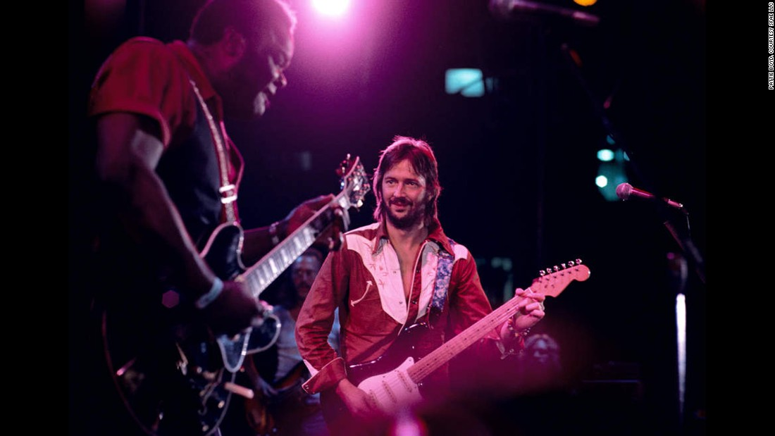 Clapton and blues legend Freddie King perform together. King signed on to Clapton's RSO record label in 1974 and released three albums before his death in 1976.
