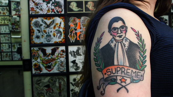University of Maryland student Rachel Fink has a tattoo of Supreme Court Justice Ruth Bader Ginsburg on her arm.