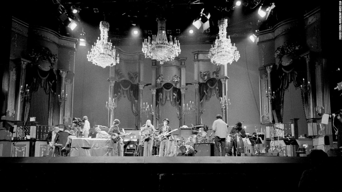 "Clapton performs at ""The Last Waltz,"" The Band's final concert performance, held in San Francisco in 1976."