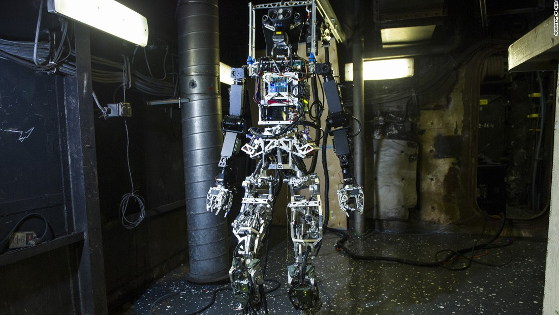 SAFFiR (Shipboard Autonomous Firefighting Robot) stands 5 feet 10 inches and weighs 143 pounds. The unique mechanism design on the robot equips it with super-human range of motion to maneuver in complex spaces.