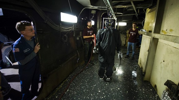The team equipped the robot with a suite of sensors that include a camera, a gas sensor and a stereo infrared camera that will allow it to find its way through the choking black smoke that would deter human firefighters.