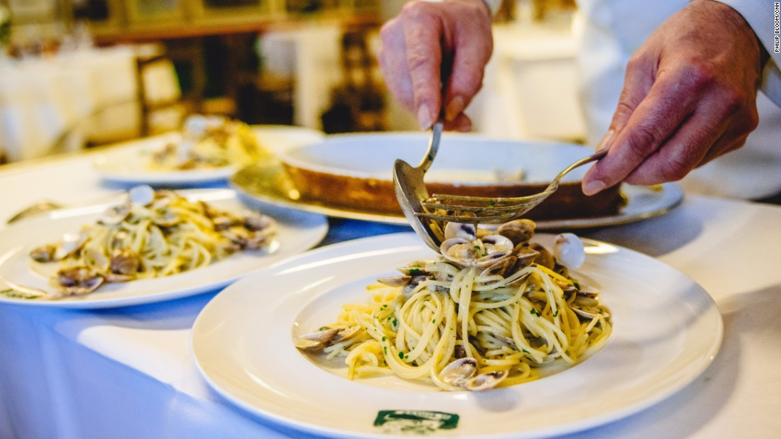 A plate of fresh clams and pasta at a restaurant on the island of Burano.